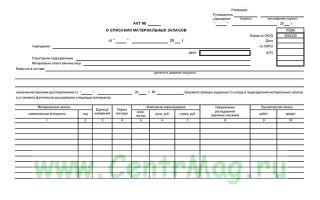 Составляем акт о списании материальных запасов — ф. 0504230 — все о налогах